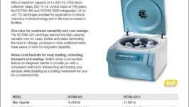 Hettich ROTINA 420 R benchtop centrifuge product sheet
